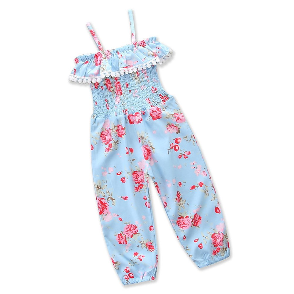 Zooarts Kids Girls Summer Romper Sling Floral Tassel Pants Dungarees Jumpsuits Playsuits