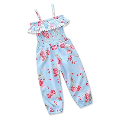 7a368563bde7 Zooarts Kids Girls Summer Romper Sling Floral Tassel Pants Dungarees  Jumpsuits Playsuits  Amazon.co.uk  Clothing