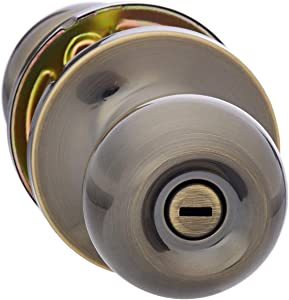 AmazonBasics Bedroom/Bathroom Door Knob With Lock, Standard Ball, Antique Brass