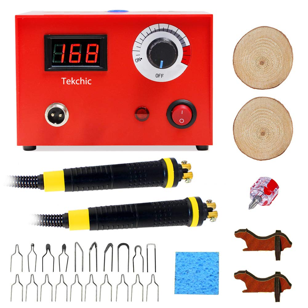Wood Burning Machine Kit 20 Tips, Dual Pen 110V 50W Pyrography Machine, Digital Temperature Adjustment and Electric Wood Burning Detailer for Wood/Leather/Gourd, Red by Tekchic