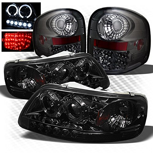 For 1997-2003 Ford F150 Flareside 1-Piece Smoked Halo Projector Headlights + Philips-LED Tail Lights 1998 1999 2000 2001