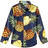SSLR Big Boy's Pineapple Cotton Hawaiian Casual Long Sleeve Shirt (X-Large(18-20), Navy)