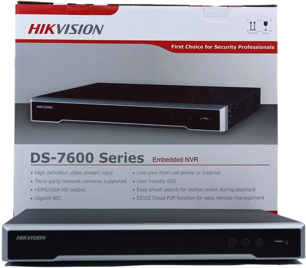 Hikvision DS-7616NI-I2/16P 16CH 16POE 12Mp Resolution 16CH POE NVR for IP Camera Support Two way Audio and Alarm In/OUT (Renewed)