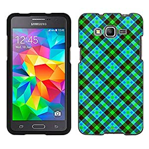 Samsung Galaxy Grand Prime Case, Snap On Cover by Trek Green and Blue Plaid Case