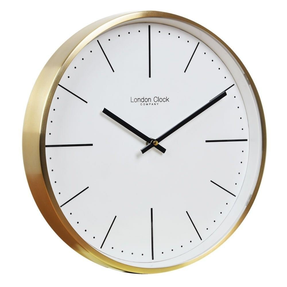 London Clock Wanduhr, 30 x 30 x 4,5 cm, goldfarben