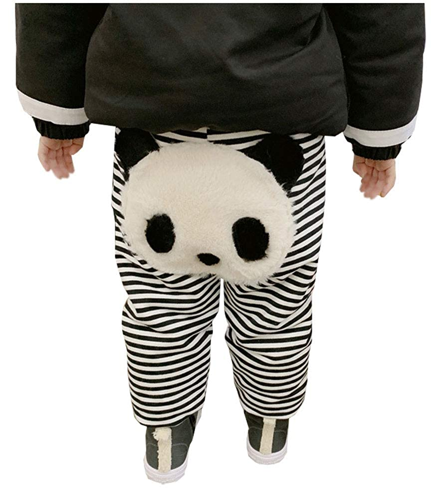MaxKids Toddler Baby Girls Cotton Fleece Jogger Panda Stripe Pants Sweatpants Daily Outfits