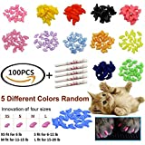 JOYJULY Soft Cat Kitty Nail Caps Claws Covers for Cats Paws Grooming Claw Care - 100pcs 4 Size of 1 Glitter Shinning & 4 Solid Colors & 5 Glues - Medium