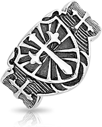 MENDINO Mens Stainless Steel Ring Crusader Jerusalem Cross Knight Templar Silver