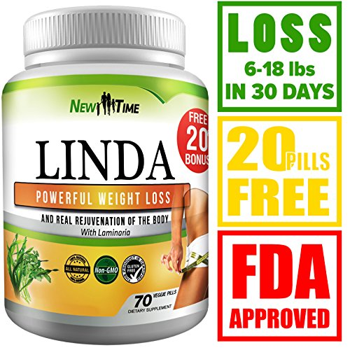 LINDA - Weight Loss Pills for Women & Men - Herbal Diet Supplements - Natural Appetite Suppressant that work fast - Best diet pills 90 pills by New Time