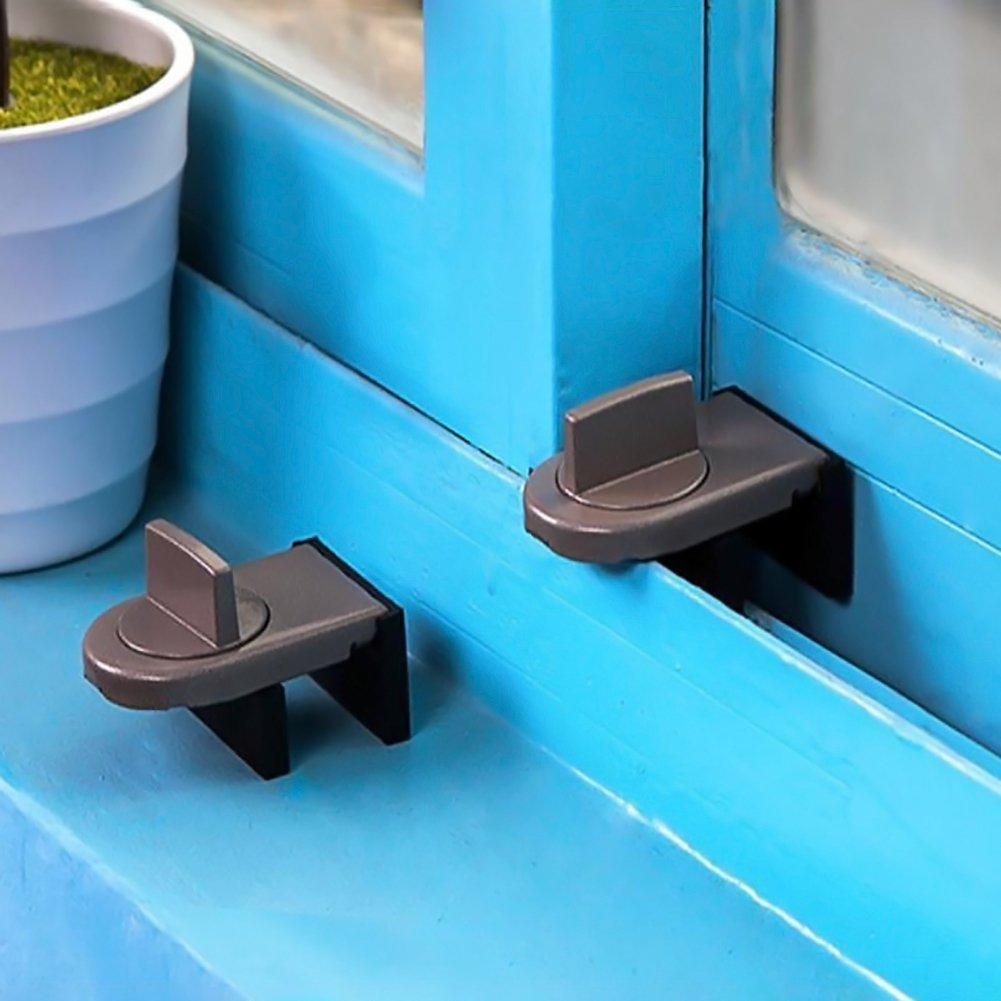 1unidades bloqueo para puerta o ventana corrediza antirrobo Cierre de seguridad para beb/és tope de aleaci/ón de aluminio