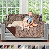 Sofa Shield Original Patent Pending Reversible Loveseat Slipcover, Dogs, 2' Strap/Hook, Seat Width Up to 54' Washable Furniture Protector, Couch Slip Cover for Pets, Kids (Love Seat: Dog/Chocolate)