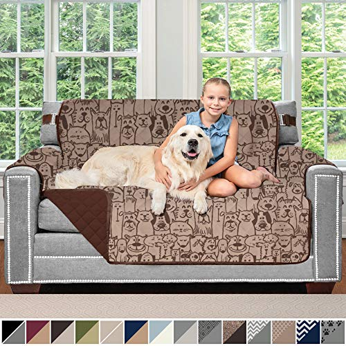 Sofa Shield Original Patent Pending Reversible Loveseat Slipcover, 2 Inch Strap Hook, Seat Width Up to 54 Inch Washable Furniture Protector, Couch Slip Cover for Pets, Kids, Love Seat, Dog Chocolate