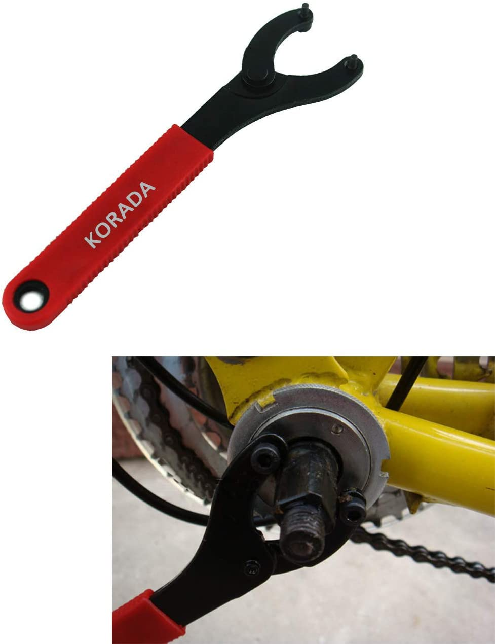 Bicycle Bottom Bracket Lock Ring Remover Tool Adjustable Mountain Bike Bottom Bracket Spanner Wrench Tools KORADA Bike Bottom Bracket Wrench