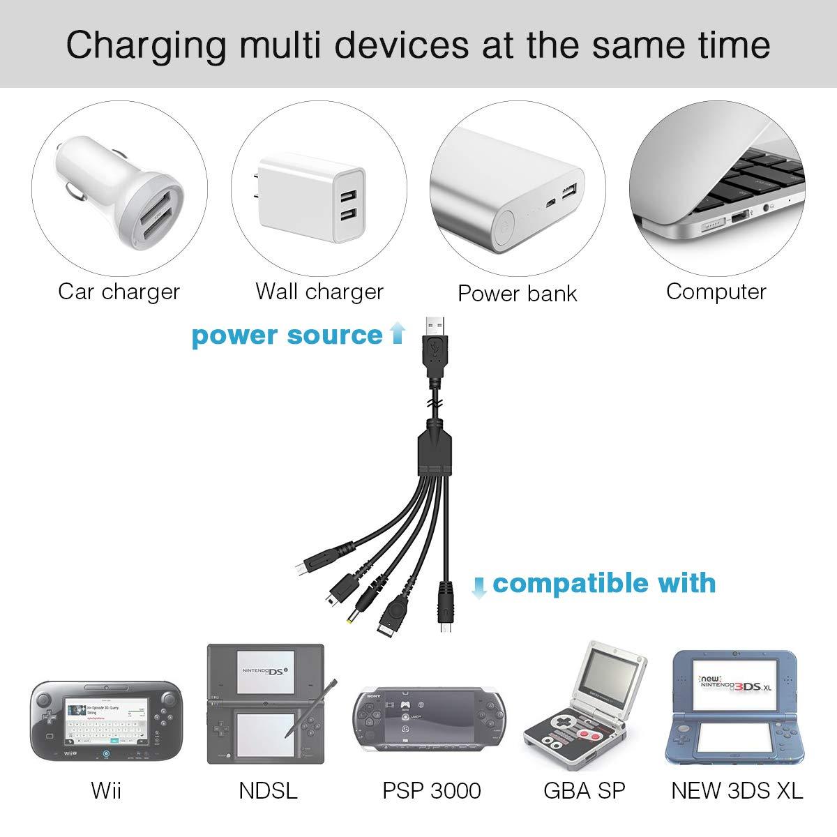 Amazon.com: 5 en 1 USB Cable cargador 3DS, Multi Cable ...