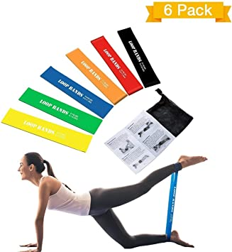 6 livello Bande di Resistenza Esercizio Loop Casa PALESTRA FITNESS LATTICE NATURALE Set di 6