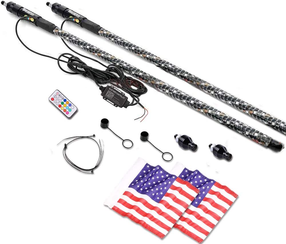 1.2M Beatto 2PCS 4FT Road Vehicle ATV UTV RZR Jeep Trucks Dunes. RF Remote Controll RGB LED Whips Light With Dacning//Chasing Light LED Antenna Light For Off