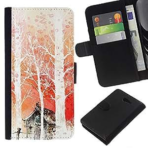 EJOY---La carpeta del tirón la caja de cuero de alta calidad de la PU Caso protector / Sony Xperia M2 / --Naturaleza japonesa Fantasía Forrest