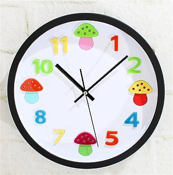 Jack Mall 12 Pulgadas 3D Reloj de Pared de Hongos Digital Reloj de Dibujos Animados de niños creativos (Color : Negro): Amazon.es: Hogar