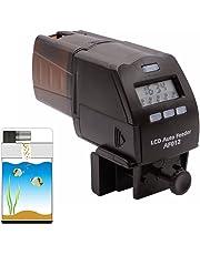 Petacc Alimentatore automatico di pesce Digital Multi-funzionale distributore di cibo per pesci Auto timer cibo con display LCD e impostazione di tempo di alimentazione, Marrone
