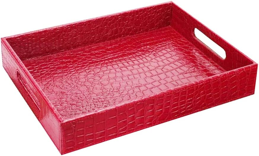 UnionBasic PU Leather Serving Tray with Handle (Small, Croco Red)