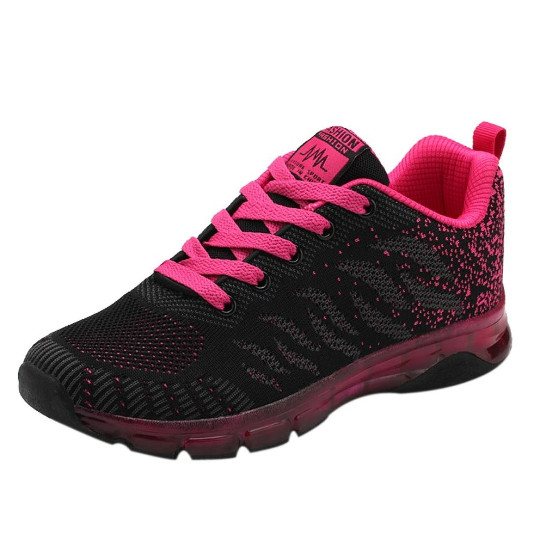 2018 Womens Girls Running Shoes,Casual Lace up Air Cushion Sneakers Shoes 5.5-8.5 (Hot Pink, US:6)