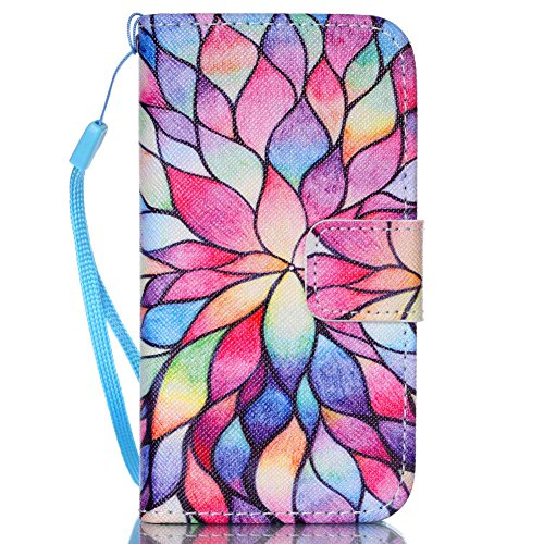 e 4 Case,JanCalm [Wrist Strap Design][Kickstand] Pattern Premium PU Leather Wallet [Card/Cash Slots] Flip Cover for iPhone 4/4S (3.5 Inch) Including-ONE Crystal Pen (Water lily) ()