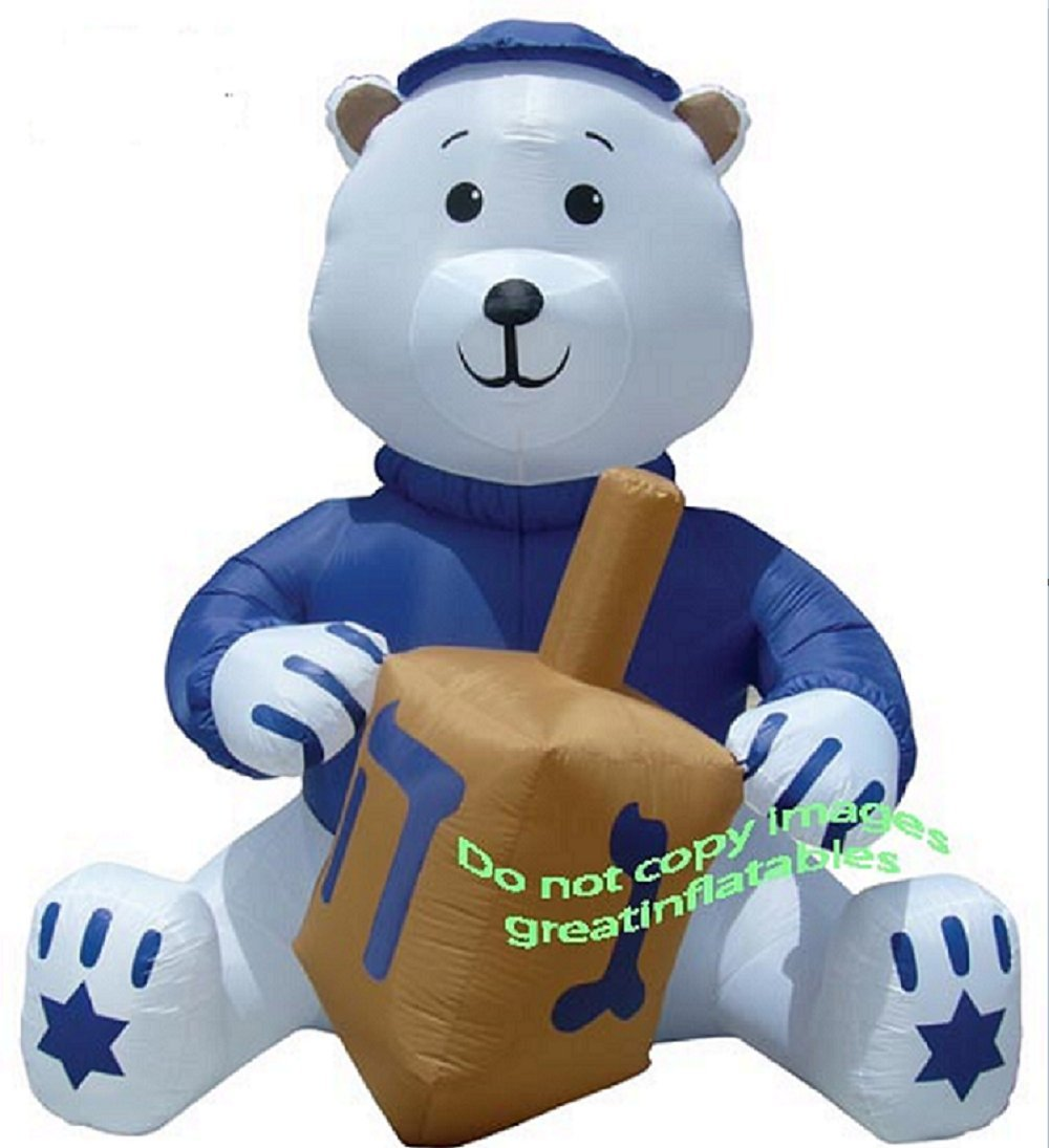 AIRBLOWN INFLATABLE 11 FT TALL HANUKKAH BEAR WITH DREIDEL AND YAMAKA by Unknown