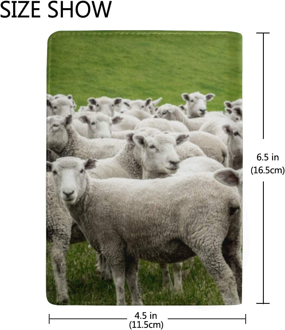 Sheeps In A Meadow On Green Grass Blocking Print Passport Holder Cover Case Travel Luggage Passport Wallet Card Holder Made With Leather For Men Women Kids Family
