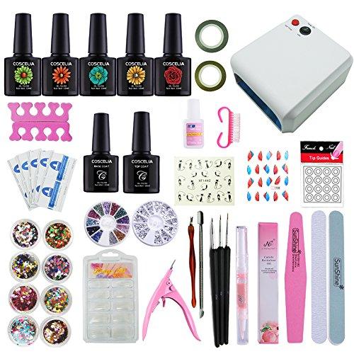 Coscelia Nail Art Kit 36W UV Dry Nail Lamp with 5 Colors Gel Nail Polish Starter Set Review