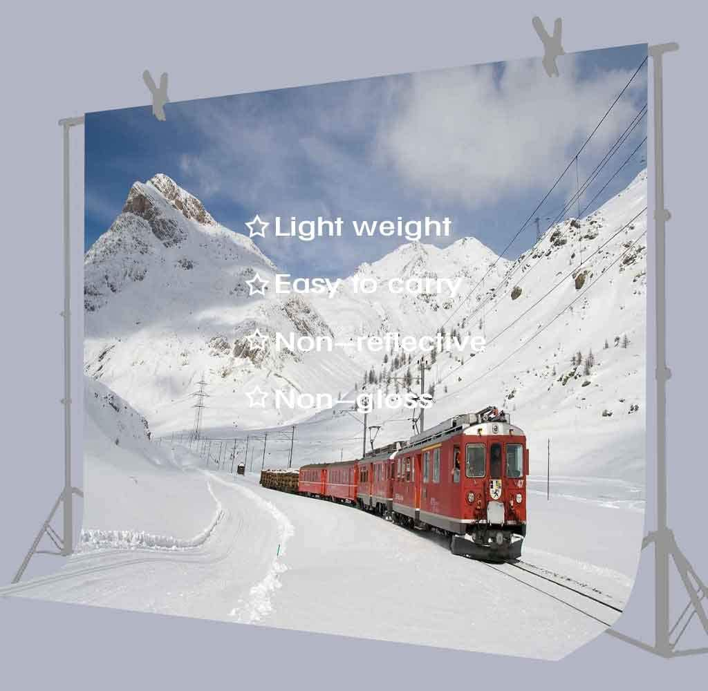 FUERMOR 7x5ft Snow Mountain and Red Train Photography Backdrop Photo Background Props GEFU984