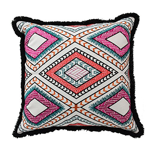 Blissliving Home 14876018x018WHI Poncho 18-Inch by 18-Inch Pillow, ()