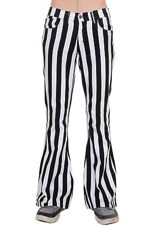 04f3d811 Run & Fly Mens 60's 70's Retro Vintage Black White Striped Stretch  Bellbottom Super ...