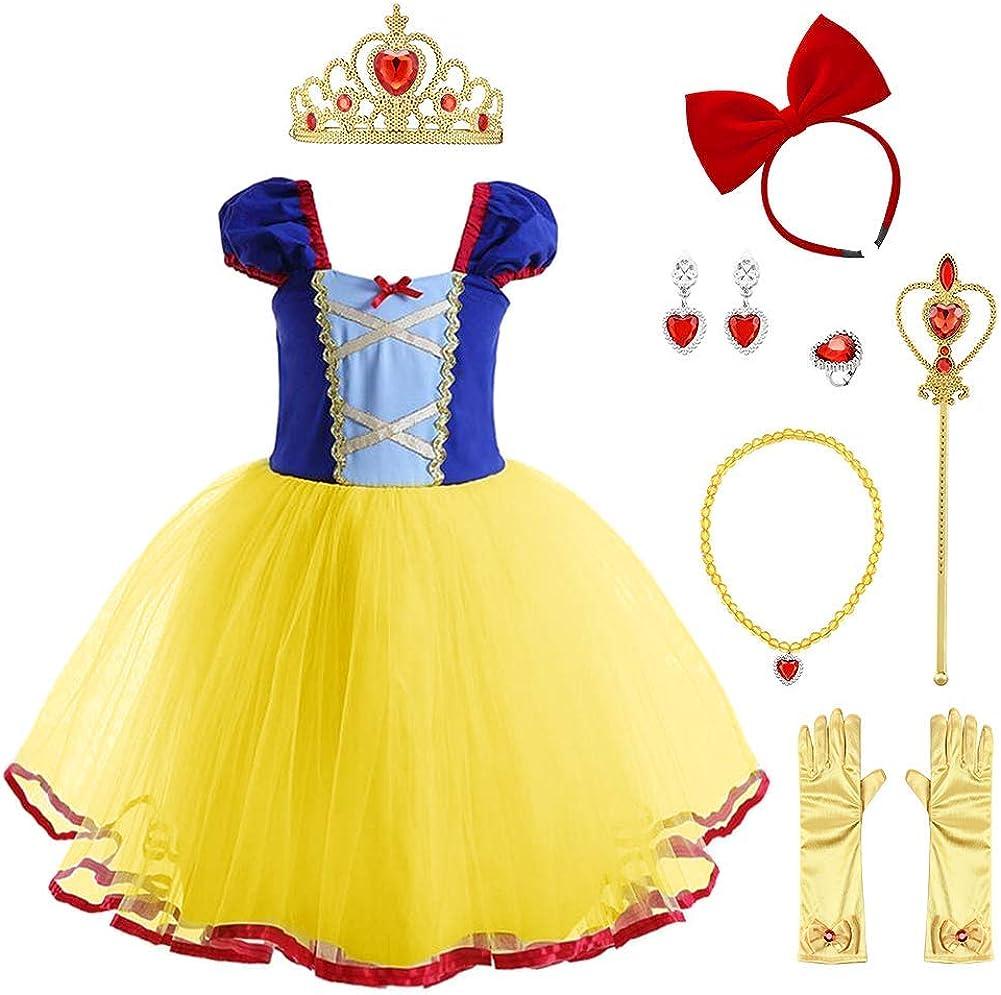 FYMNSI Ragazze Principessa Biancaneve Carnevale Costume con Accessori Travestimento Fantasia Fata Vestirsi Snow White Cosplay Compleanno Festa Costumi Halloween Natale Vestito 1-8 Anni