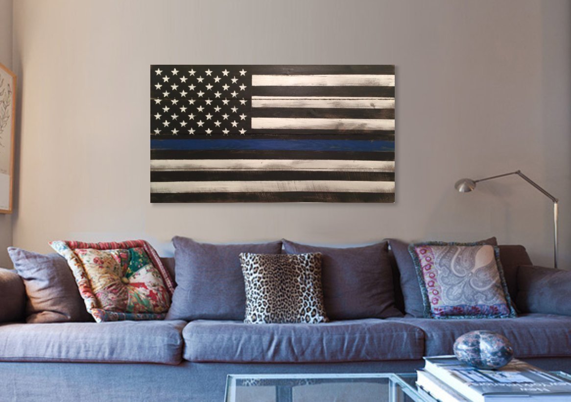 Thin Blue Line Wood Flag, Wood Thin Blue Line Flags 22x40'', veteran made thin blue line wood flag