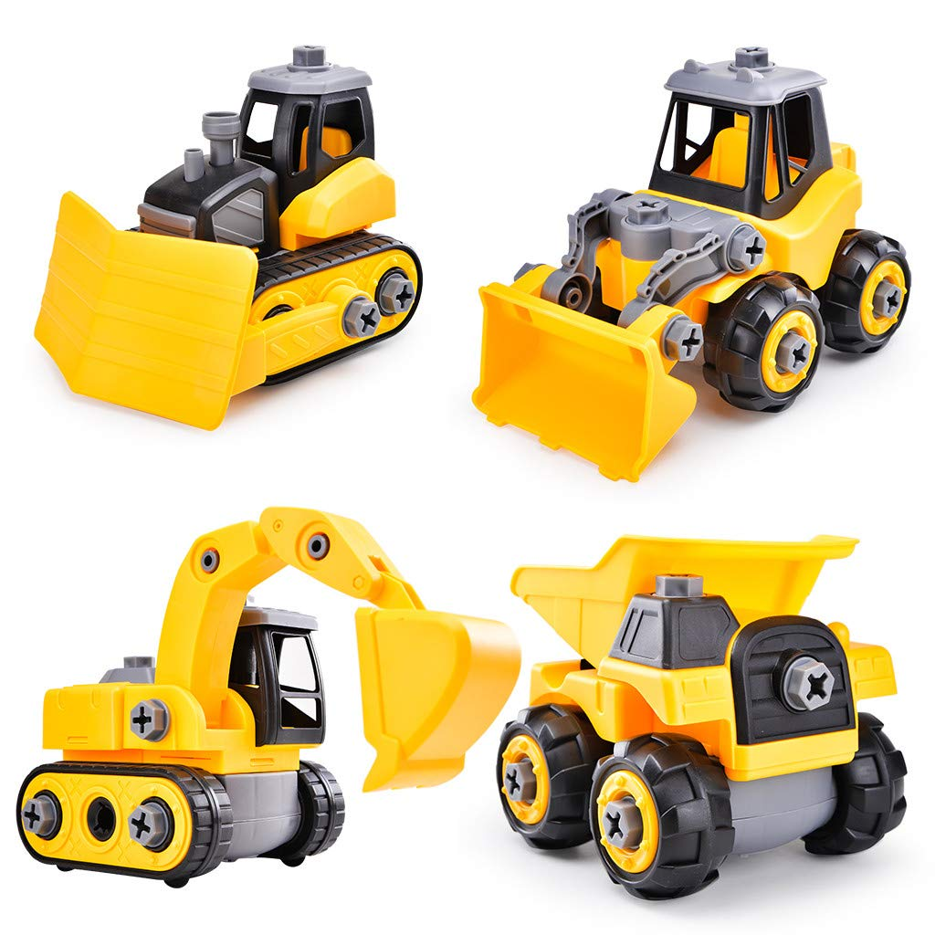 Bieay Assembled Construction Truck Toy, Includes Construction Vehicles, Building Play Set for Boys Girls 2-6 Years Old (4 Construction Trucks)