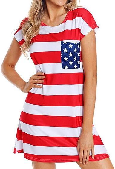 Women Shirtdress Star Stripy Print American Flag USA Short Sleeve O Neck Elastic Ladies Dress