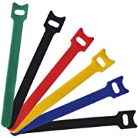 60 Pcs Hook and Loop Cable Ties, Viaky Multicolor 6 Inch(15cm) Quickly-Fastening Wire Organizer Cord Straps Reusable Microfiber Cloth Cord Ties for Home Office Tablet PC TV Electronics Wire Management