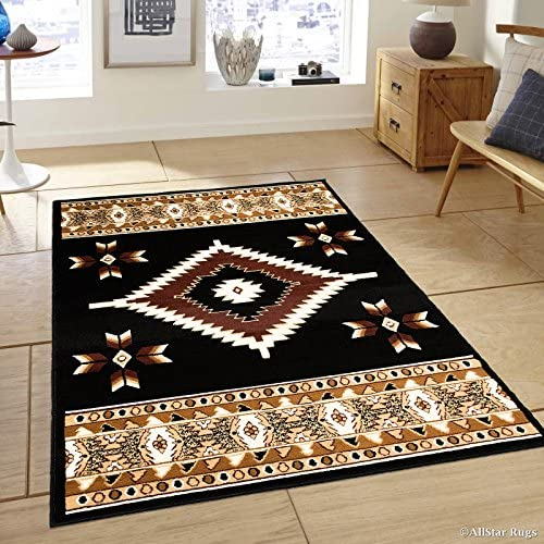 Allstar 4×5 Black and Mocha Southwestern Rectangular Accent Rug with Ivory and Espresso Aztec Design 3 9 x 5 1