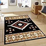 Allstar 8 X 11 Black Woven Traditional Southwestern Geometric Area Rug (7′ 7″ X 10′ 6″) For Sale