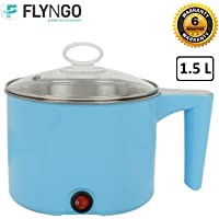 FLYNGO 1.5 Liter Mini Electric Multi Function Cooker Cooking Pot with Glass Lid and Handle for Rice, Noodles, Soup, Home, Office, and Travel