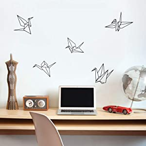"Set of 5 Vinyl Wall Art Decals - Paper Cranes - 9"" to 11"" Each - Home Work Place Origami Stencil Adhesives - Trendy Decal for Office Living Room Bedroom Dorm Room Decor (Black)"