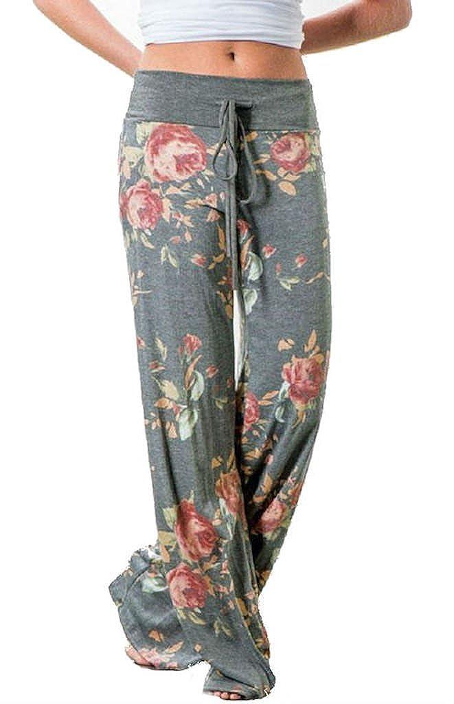 Lucky Star Women's Floral Drawstring High Waist Wide Leg Pants