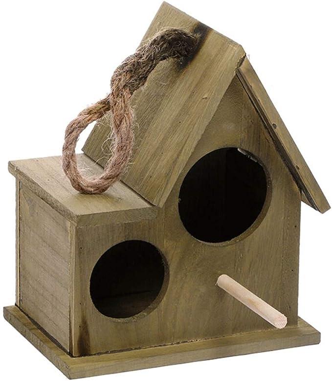 NYKK Jaulas para pájaros Casa de Madera para pájaros al Aire Libre, Nido, Caja de cría, jardín, decoración del hogar (marrón) Pajarera para Pájaro (Color : Bronze, tamaño : M)