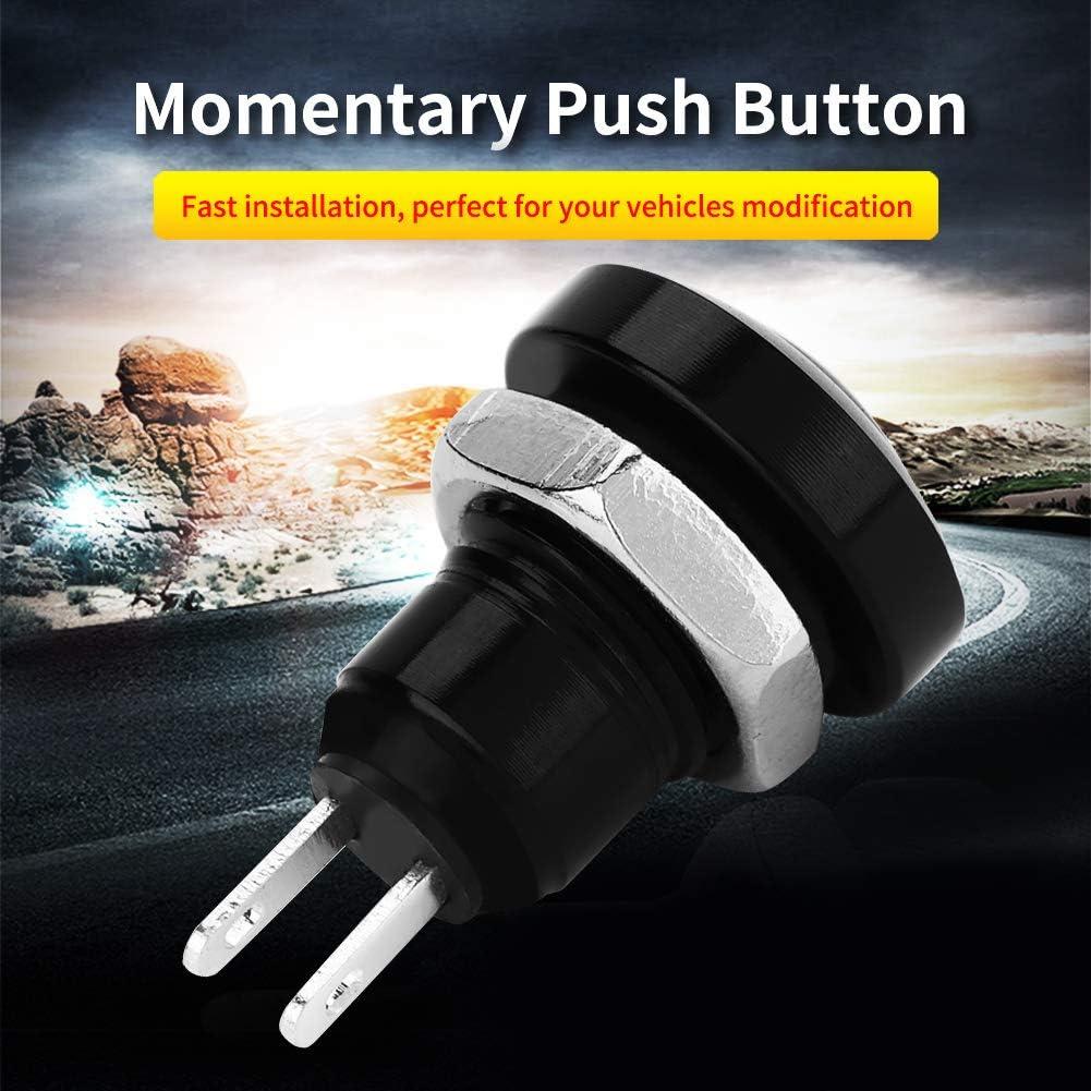 Black Fydun Push Button 1A 24V 8mm Mini Waterproof Car Momentary Push Button Power Switch Zinc-Aluminium Alloy