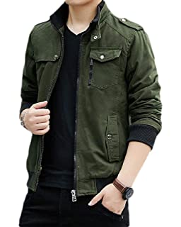 ONTBYB Mens Slim Fit Thick Leisure Zipper Quilted Stand Collar Down Jacket Coat