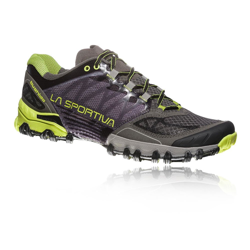 La Sportiva Bushido, Deportivos de Running para Hombre 47 EU|Multicolor (Carbon/Apple Green 000)