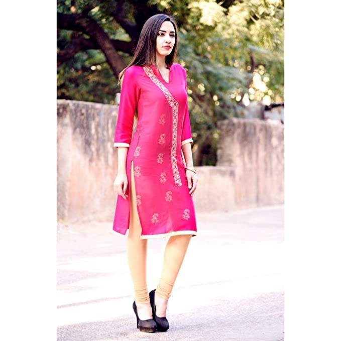 1063a656ce8 Vihaan Impex Indian Kurtis for Women Kurtas for Women Women Kurta Pink Bust  Size 42 Inches  Amazon.co.uk  Clothing