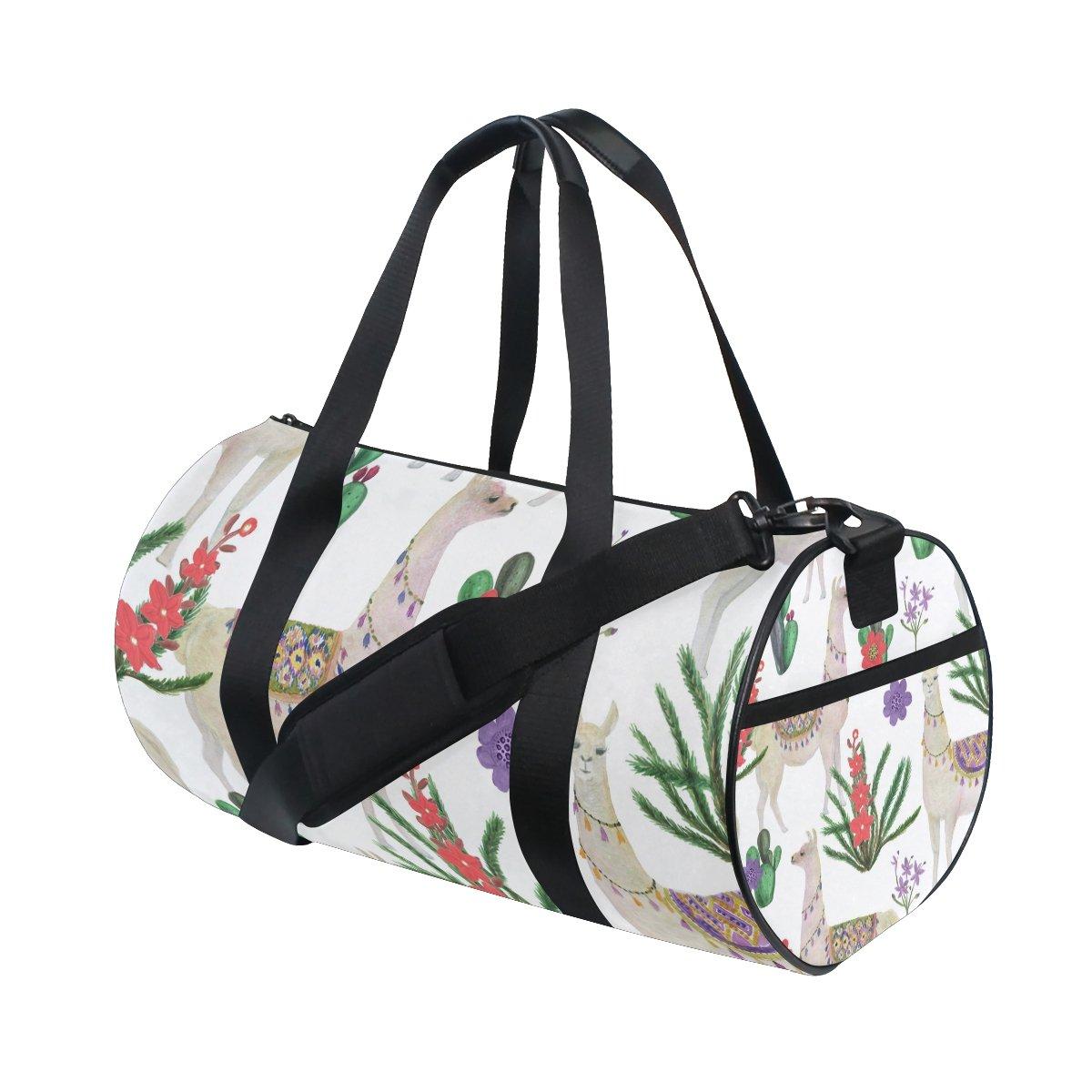 My Little Nest Sports Gym Bag Watercolor Llamas Lightweight Travel Duffel Bag for Women Men