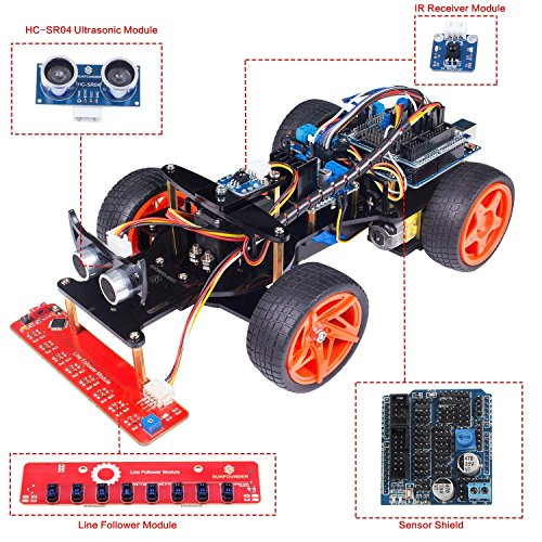 SunFounder SunFounder Remote Control Robot Smart Car Kit V2.0 for Arduino Uno R3 Ultrasonic Line Follower Sensor IR Receiver price tips cheap