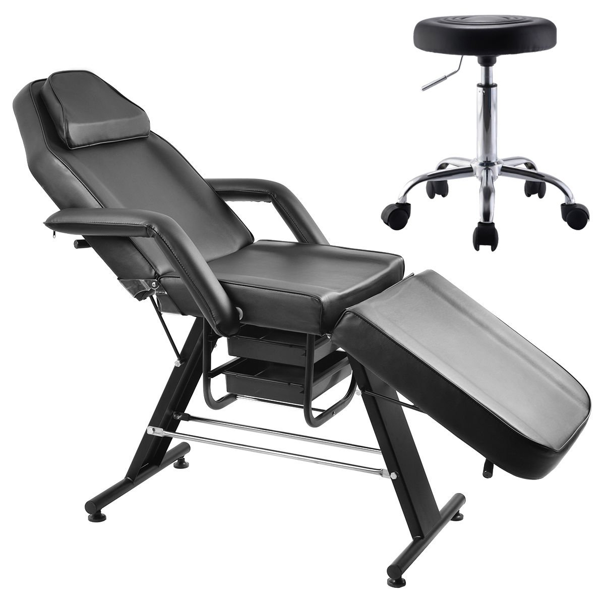 massage table and chair. Amazon.com: New Adjustable Salon SPA Black Massage Bed Tattoo Chair Table Beauty Basket W/Stool: And